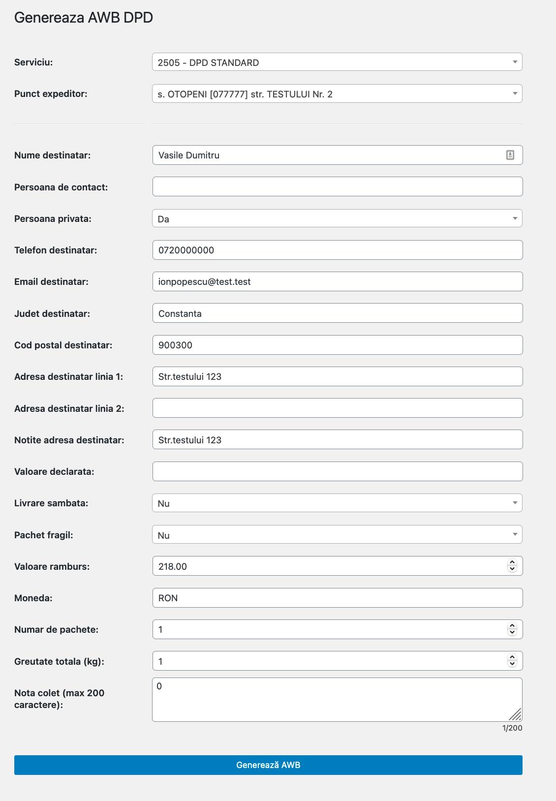 setari personalizate generare AWB WooCommerce DPD
