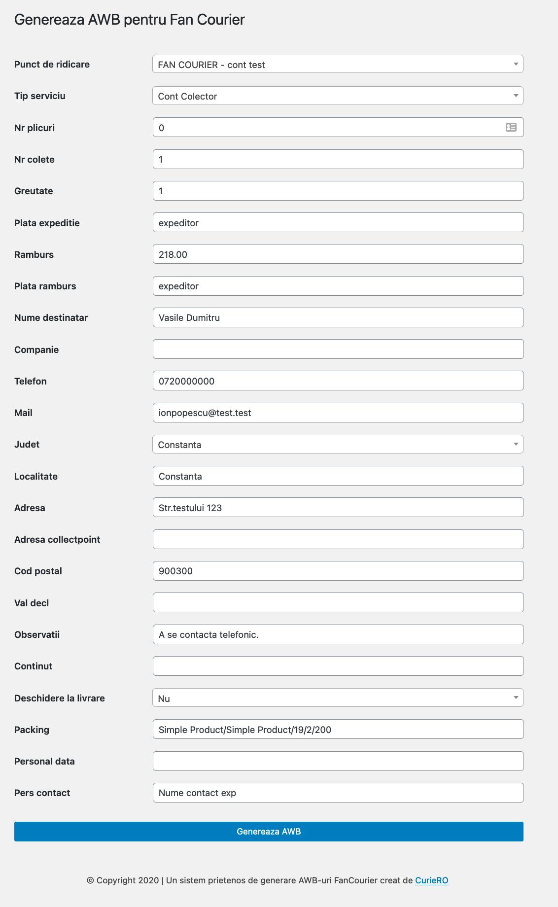 setari personalizate generare AWB WooCommerce Fan Courier