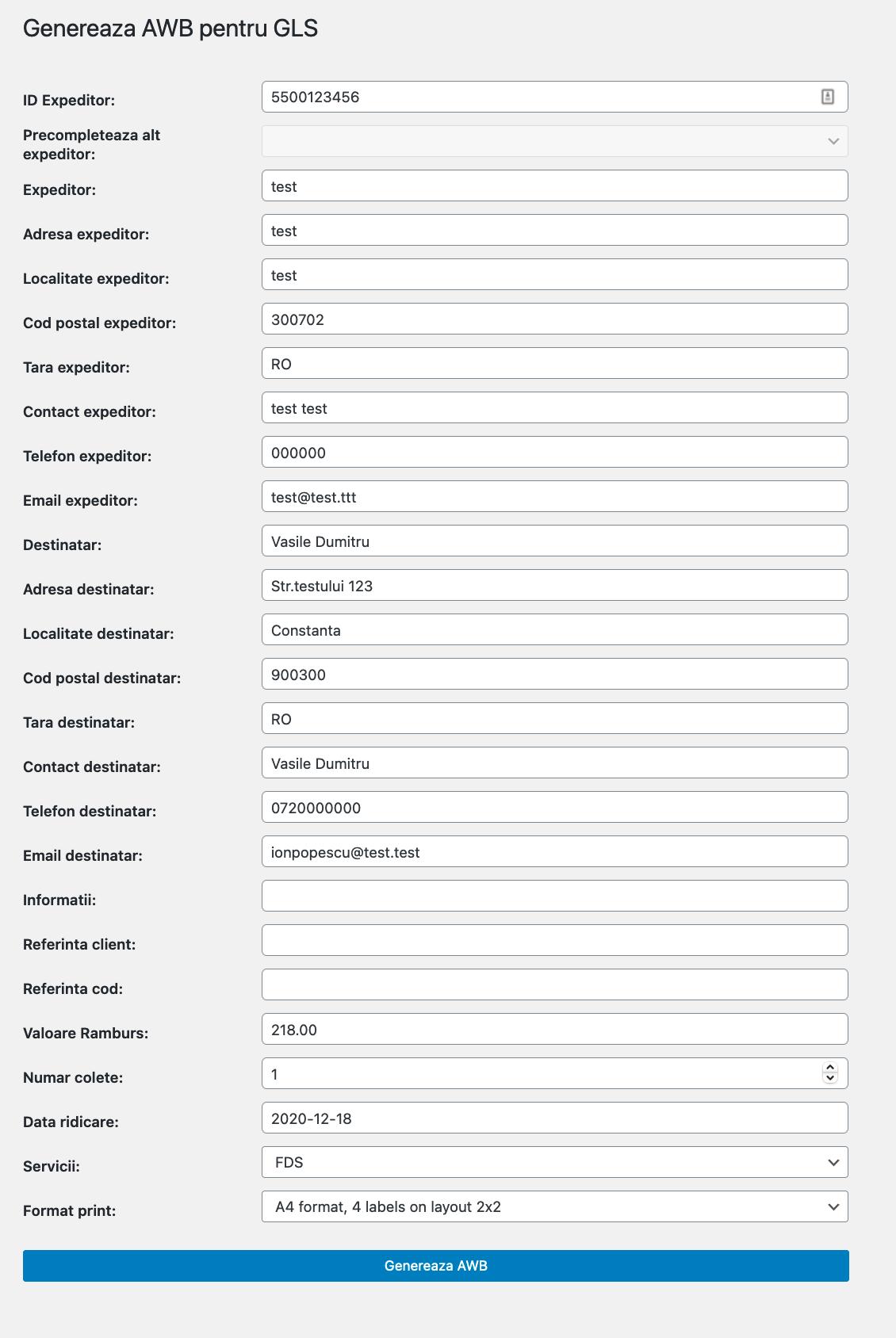 setari personalizate generare AWB WooCommerce GLS