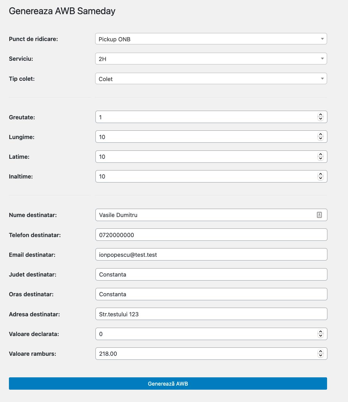 setari personalizate generare AWB WooCommerce Sameday