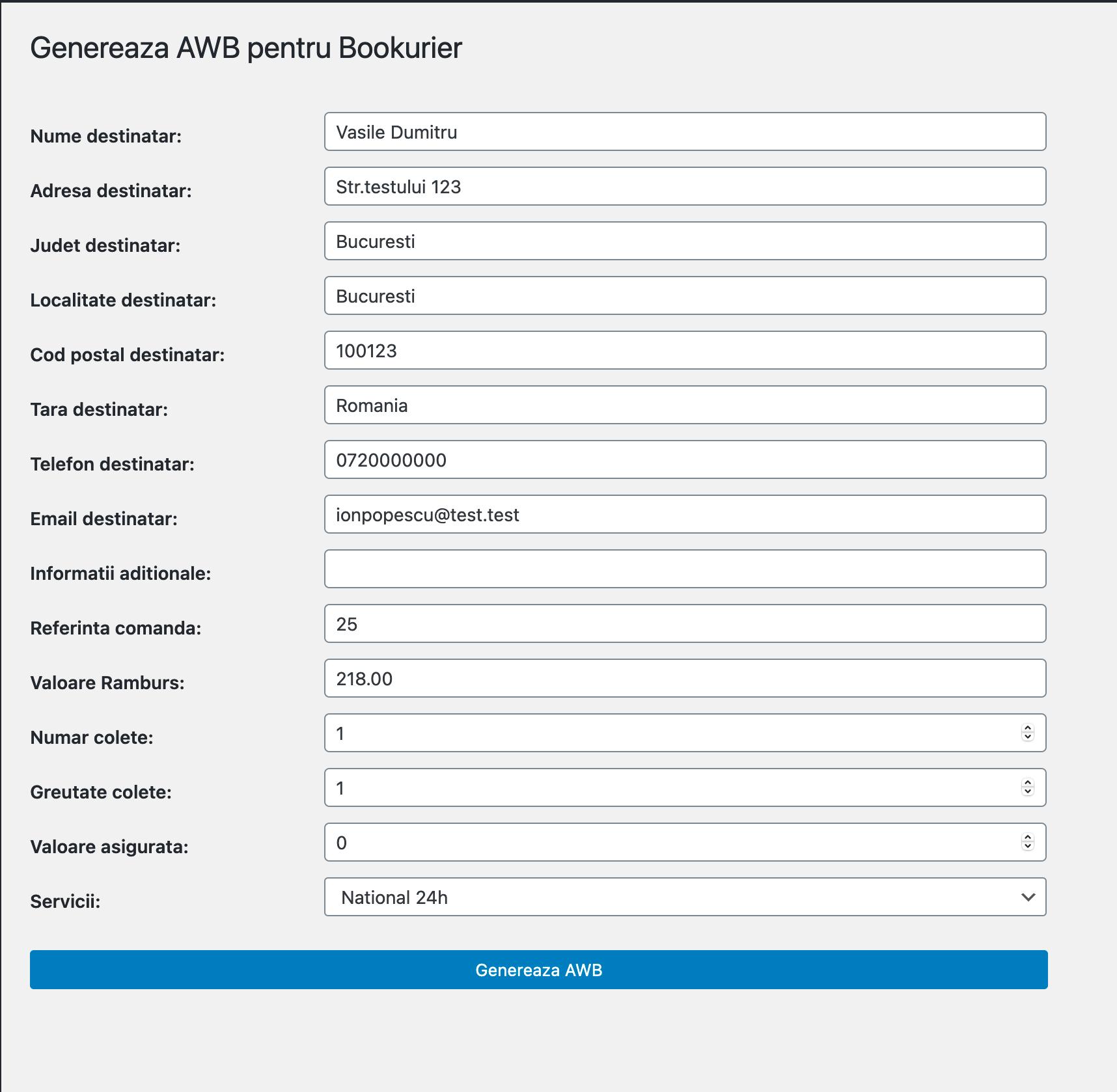 setari personalizate generare AWB WooCommerce Bookurier